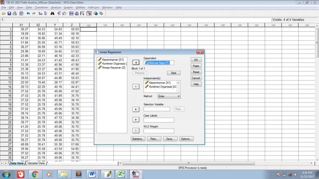 Analisis jalur path dengan spss mobile statistik apabila terdapat 2 persamaan regresi dalam pembentukan diagram jalur poin 2 maka proses regresi dilakukan sebanyak 2 kali kemudian klik ok ccuart Image collections